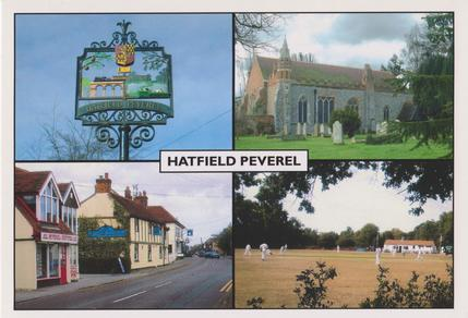Various scenes from around Hatfield Peverel including town sign, church, street and cricket ground